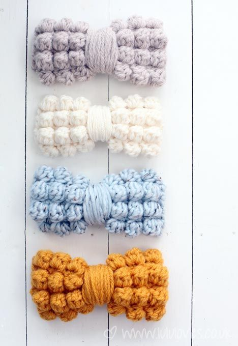 Chunky Bobble Bows Design by Lulu Loves Free pattern available via The Yarn Box