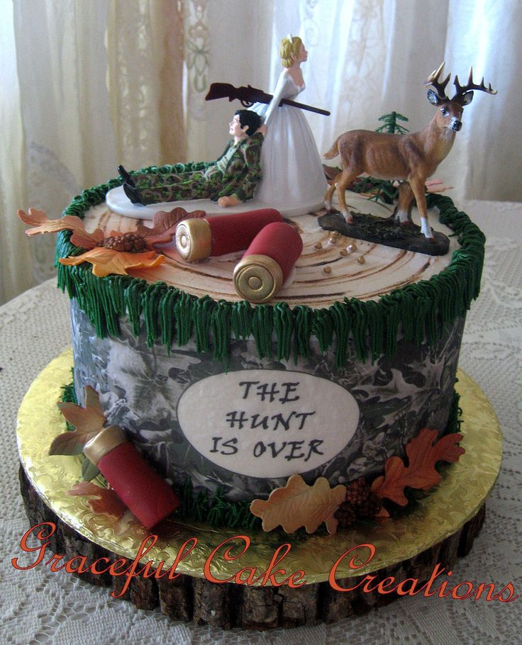 https://flic.kr/p/EN11Nr | Hunting Themed Grooms Cake