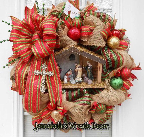 22 Christmas Wreath Burlap Wreath Mesh Wreath by JennaBelles