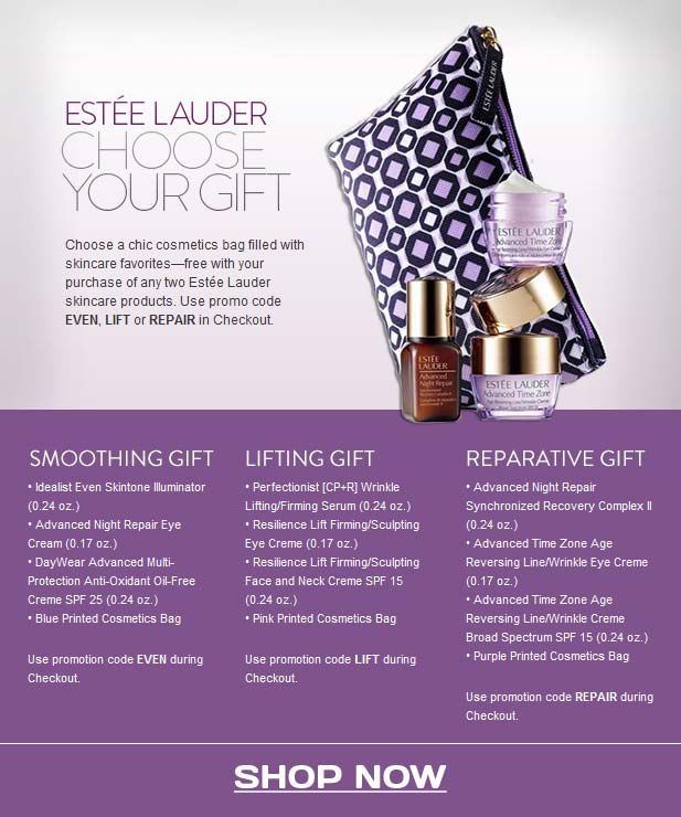 Use coupon code EVEN, LIFT or REPAIR to get this cute mini GWP at Nordstrom, includes Estee Lauder favourites. Yours with 2 products purchase.  http://cliniquebonus.org/estee-lauder-gift-gwp/