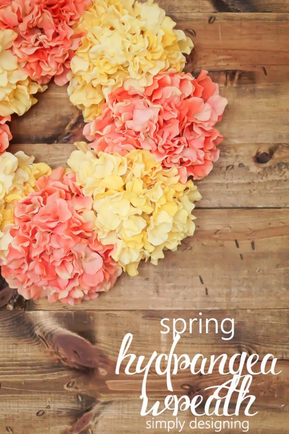 I am really excited to share how to make this really fun and simple Spring Hydrangea Wreath with you! And it only takes about 10 minutes to create!