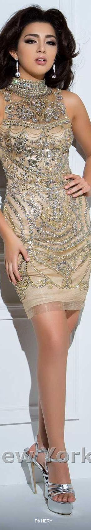 Tony Bowls-Metallic Beaded Cocktail Dress by Tony Bowls