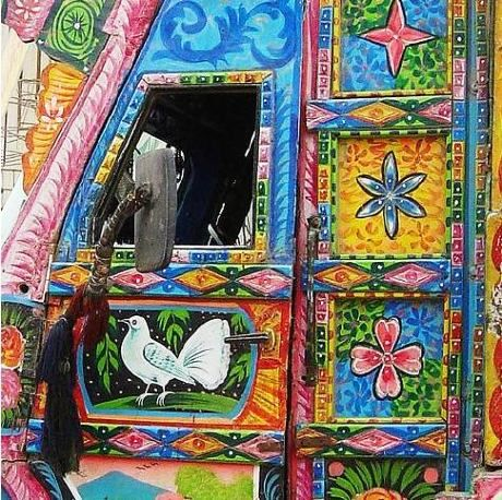 Pakistan's Indigenous Art of Truck Painting, by Owais Mughal  Just like the Billboard painting performed in Pakistan, there is another indigenous form of art performed in Pakistan and it is the Truck Painting. With its all colorful floral patterns, depiction of human heroes with creative aspect ratios, calligraphy of poetic verses and driver's words of wisdom, this form of art is truly a part of Pakistani transport tradition.