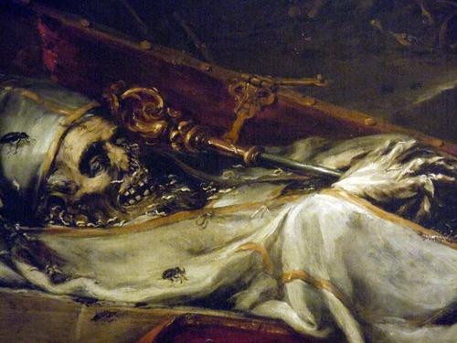 VALDÉS LEAL, Juan de (b. 1622, Sevilla, d. 1690, Sevilla)  Finis Gloriae Mundi (detail)  1670-72  Oil on canvas, 220 x 216 cm  Hospital de la Caridad, Seville