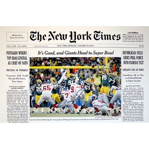 Lawrence Tynes New York Times Cover 1-21-08 11x17 Photo - Commemorate the moment Lawrence Tynes kicked the 2007 New York Giants into SB XLII at Lambeau Field vs. Green Bay Packers. A Steiner Sports Certificate of Authenticity is included. Gifts > Collectibles > Nfl Memorabilia. Weight: 1.00