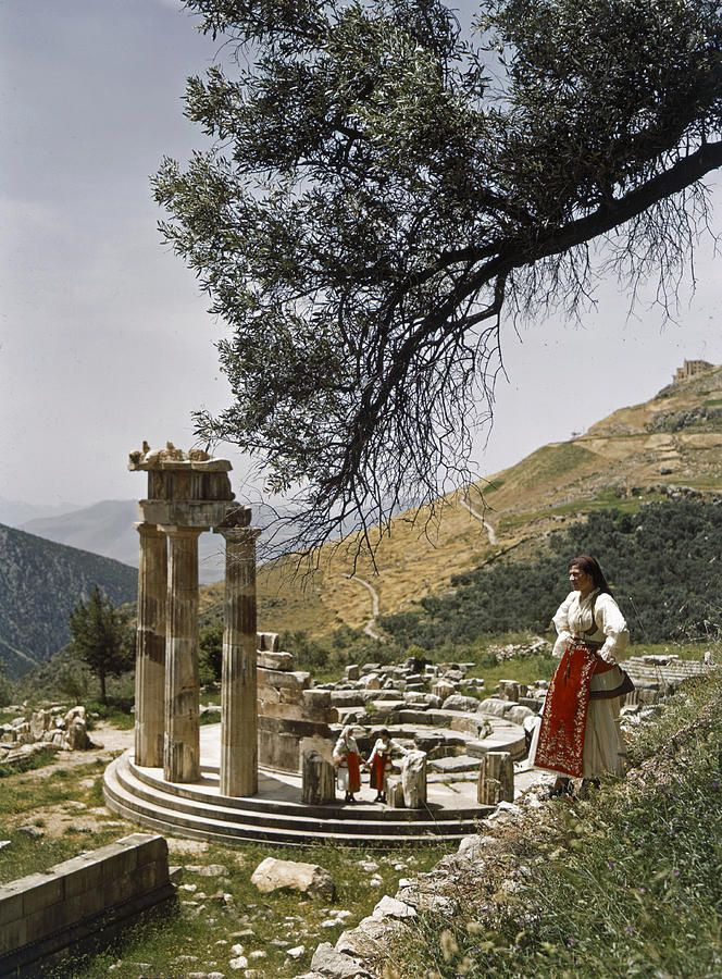 Three restored doric columns stand at the ancient Tholos in Delphi Greece byPhotographer: B. ANTHONY STEWART/National Geographic Creative . www.fineartamerica.com