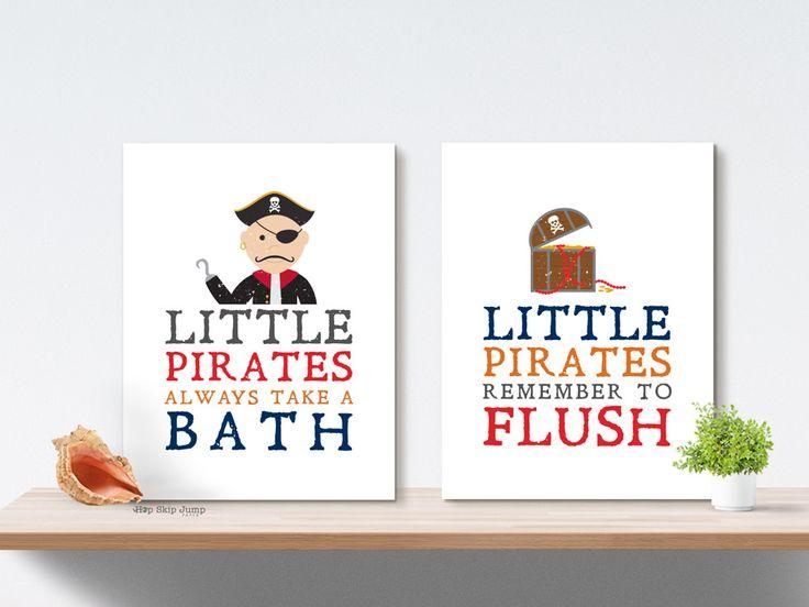 Pirate Boy Bathroom Art Prints