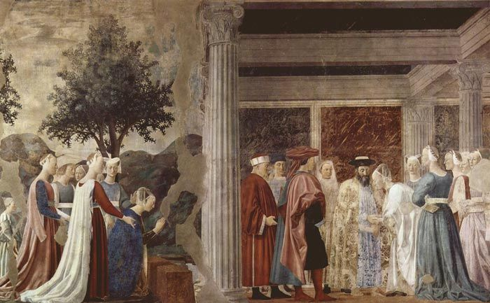 Piero della Francesca - Adoration of the Holy Wood and the Meeting of Solomon and the Queen of Sheba