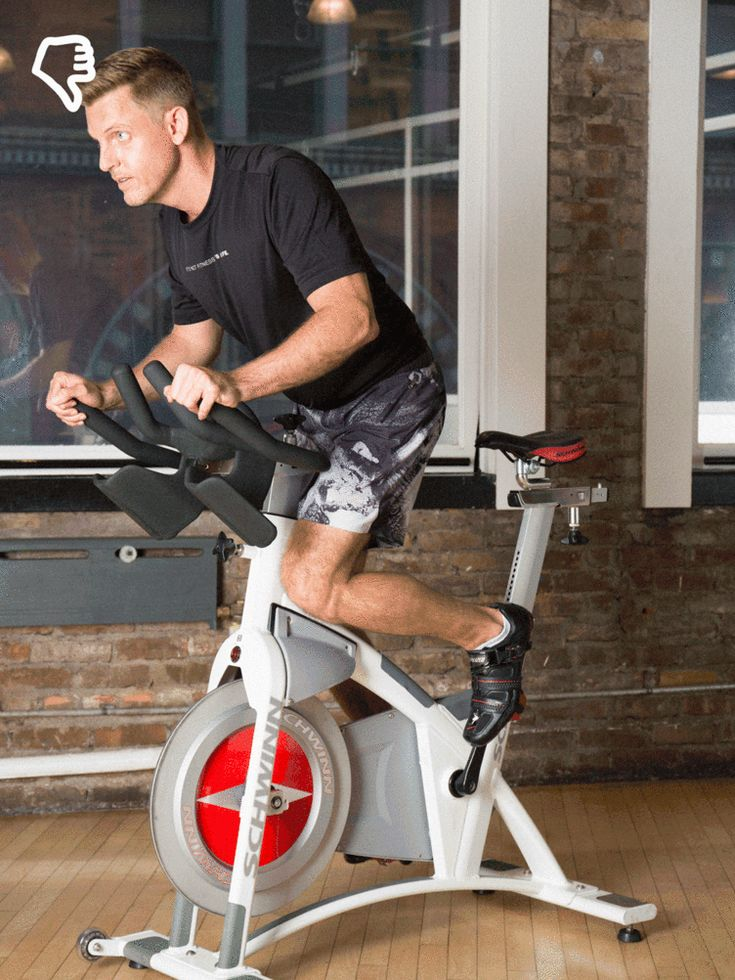 The Mistake: You ride too far forward, like you're leading a charge. #indoorcycling #spinning http://greatist.com/move/indoor-cycling-the-most-common-mistakes