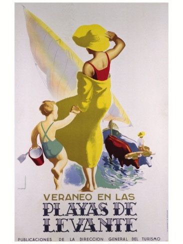 Vintage Travel Poster - Spain - Benidorm - Playas de Levante