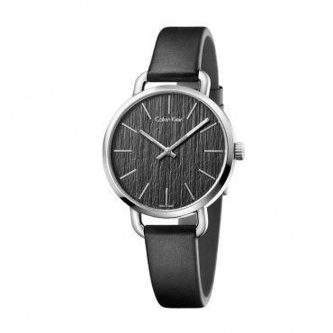 K7B231C1 Γυναικείο ελβετικό ρολόι CALVIN KLEIN Even με λουράκι από μαύρο δέρμα και μαύρο ριγέ καντράν | Ρολόγια CK ΤΣΑΛΔΑΡΗΣ στο Χαλάνδρι #Calvin #Klein #even #δερμα #ρολοι