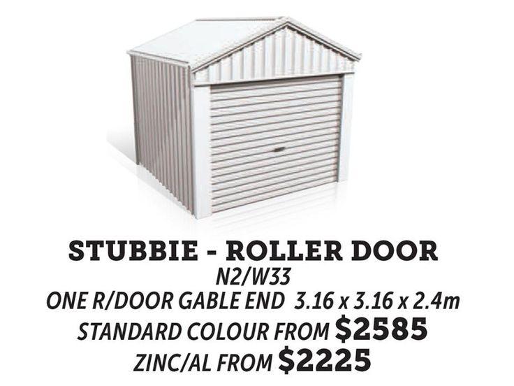 stubbie roller door gable roof shed
