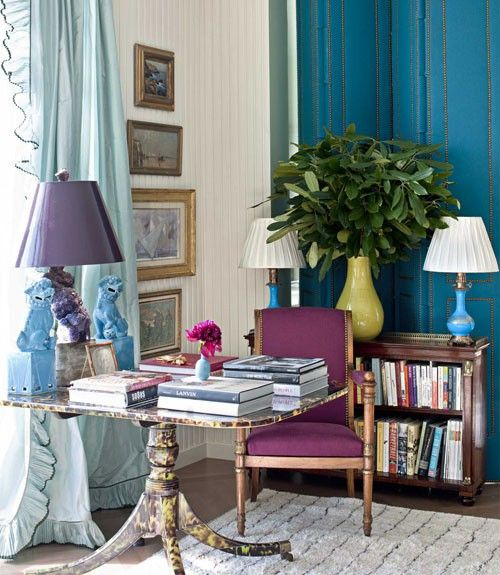 Miles Redd - great corner for communing with books, with great blues and purples and a yellow vase