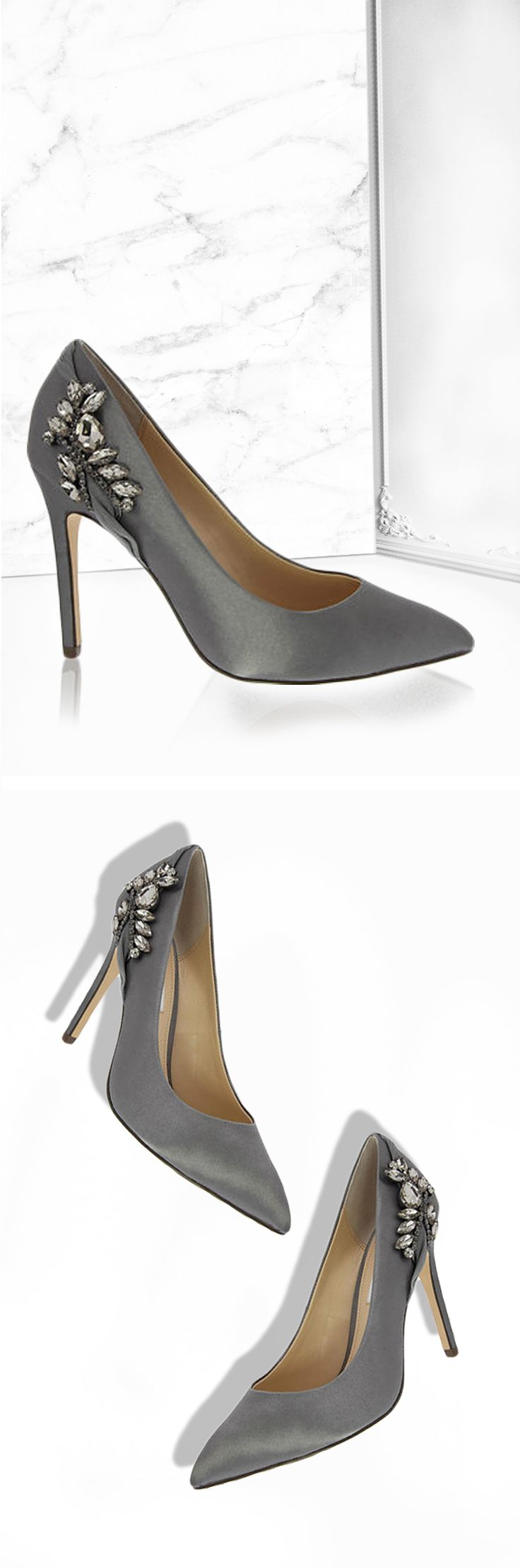 Metal dust crystal satin pumps with unique floral crystal detailing. Going out heels just hit a whole new level of beautiful! | Nina Shoes Rhonae NinaShoes.com