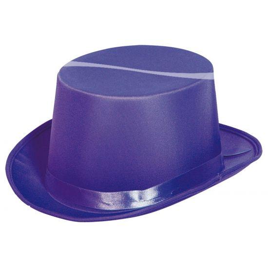 Hoge feesthoed paars  Paarse hoge hoed. Deze hoge hoed in de kleur paars is geschikt voor volwassenen zowel mannen als vrouwen. Materiaal: vilt. Voor hoge hoeden in andere kleuren kunt u ook bij ons terecht. De hoed heeft een omtrek van ongeveer 56 cm en is ongeveer 11 cm. hoog.  EUR 7.95  Meer informatie