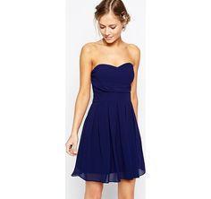 TFNC - Prom dress in chiffon a pieghe - Blu navy asos blu-marino Blu damigella cerimonia