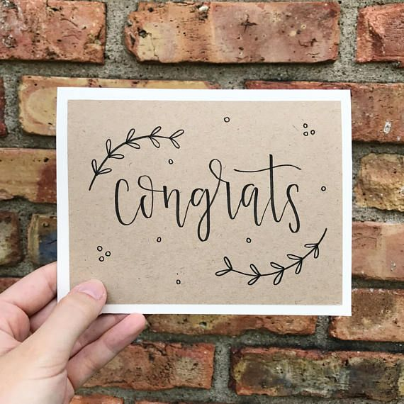 Congrats Hand Lettered Calligraphy Greeting Card – Handmade Rustic Calligraphy Card – Single Card