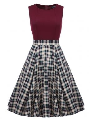 ACEVOG Koyu kırmızı Kadınlar 1950'ler Vintage Stil Retro Kolsuz Halı Örgü Hattı A-line Kokteyl Midi Partisi Günlük Elbiseleri