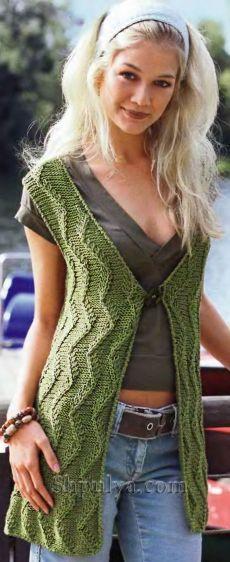 www.SHPULYA.com - Ажурный зеленый жилет, вязаный спицами
