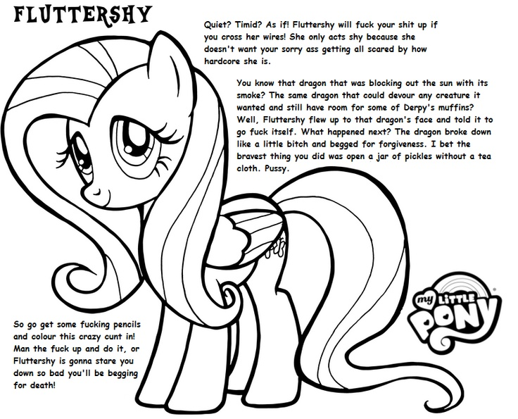 Aggressive Coloring Book Fluttershy More Pages