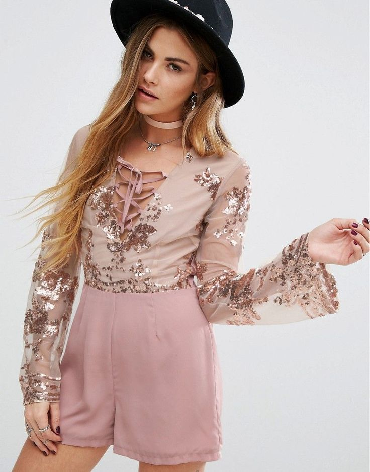 Young Bohemians Romper With Delicate Floral Sequin - Pink
