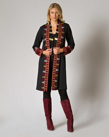 Hand Embroidered Afghan embellished coat.