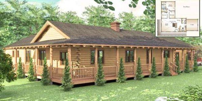 One Story Log House With Wrap Around Porch Log Cabin Floor Plans Log Homes Log Home Floor Plans