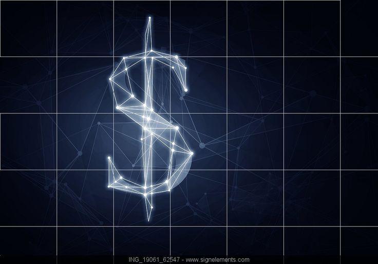 Image Details ING_19061_62547 - Dollar currency symbol. Digital grid glowing dollar sign on dark background