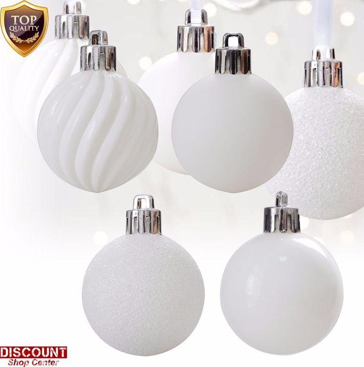 24Pack White Christmas Ornaments Balls Set Tree Decorations Hanging Xmas Holiday #KIStore