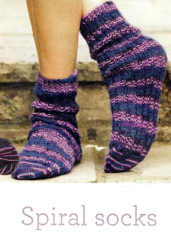 110 best socks knitting and crochet patterns images on pinterest vintage knitting pattern pdf easy to knit spiral socks by estherkatevintage on etsy dt1010fo
