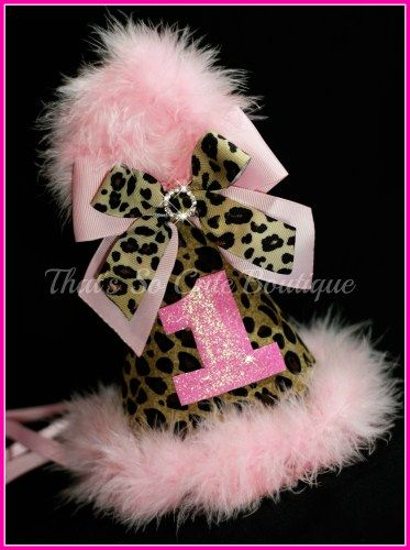 Leopard print birthday hat, Pink Cheetah party hat for baby