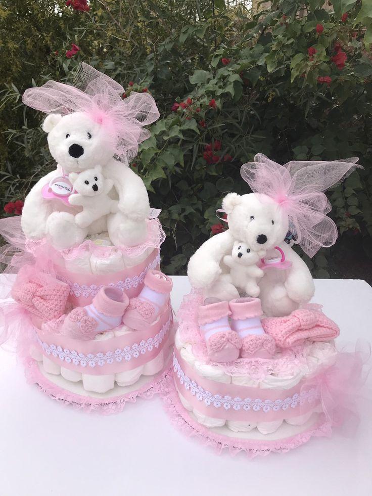 TWINS Diaper Cake. Bear Diaper Cake, Girls Diaper Cake. Baby Shower Gift