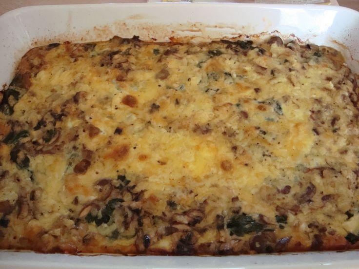 Tærte med oksekød, champignons og spinat