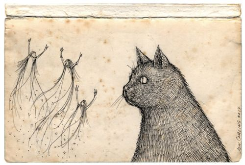 "Illustration by Jon Carling, who says ""Your cat can see ghosts."""