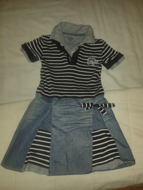 Girls dress (4-5 years ) I made out of boy's shirt and some old jeans of my husband!