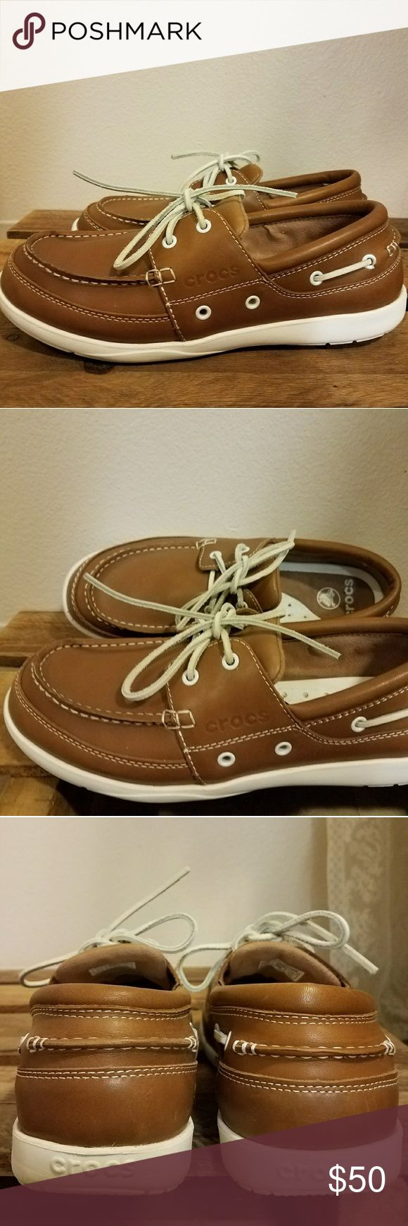 CROCS Boat Shoes Harborline Hazelnut/ Brown Boat Shoes. Upper leather, discontinued. They are in excellent condition, I only used them a couple of times. They have a minor flaw in one of the eyelets, I provided a photo above. CROCS Shoes Boat Shoes