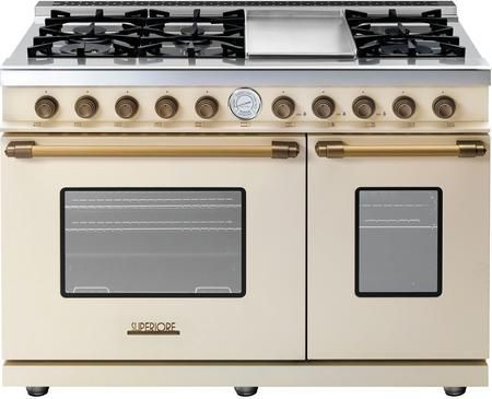 """RD482GCCB 48"""" DECO Series Freestanding Natural Gas Range with 6 Sealed Burners 2 Gas Ovens Electric Griddle and Convection in Cream Matte with Bronze Accent"""