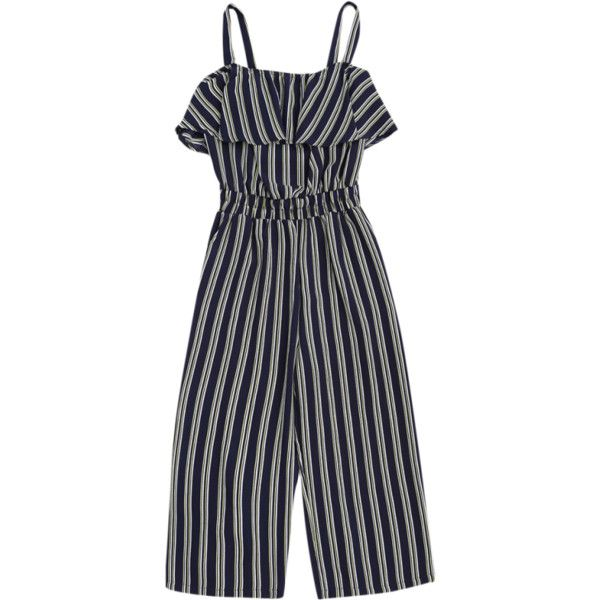 Cami Ruffles Striped Shirred Waist Jumpsuit Stripe ($20) ❤ liked on Polyvore featuring jumpsuits, blue jumpsuit, striped jumpsuit, cami jumpsuit, striped cami and blue camisole