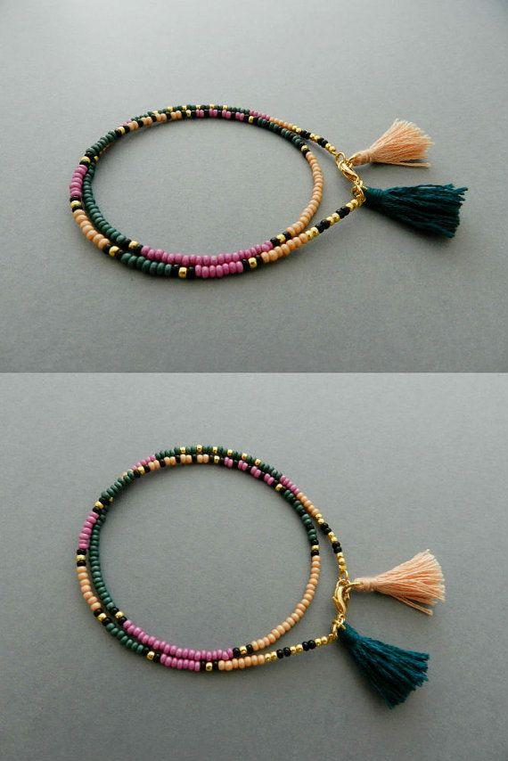 Friendship Bracelet, Tassel Wrap Beaded bracelet Boho Jewelry, Сolourful Tribal wish Bracelet,  dark green, lilac, Best Friend Gift for her