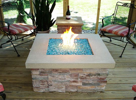 gas firepit - I like the blue crystals!
