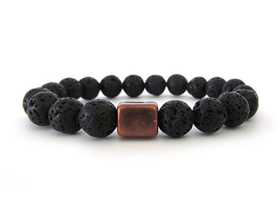 Black Lava Rock Men's Bracelet - Men's Jewelry - Beaded Stretch Bracelet - Black Bracelet