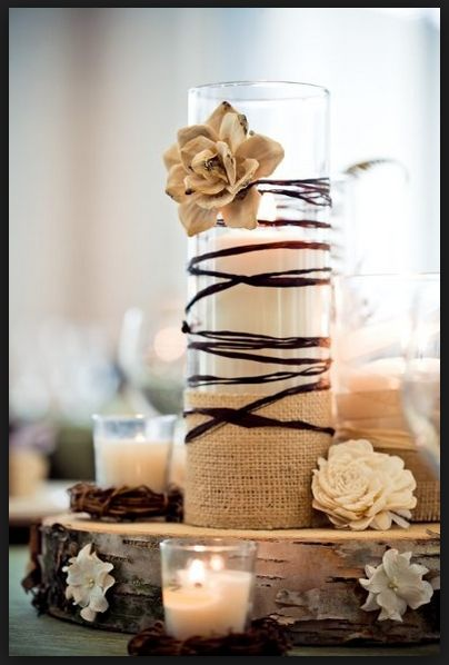 Could wrap large candle holders with the fabric streamers.