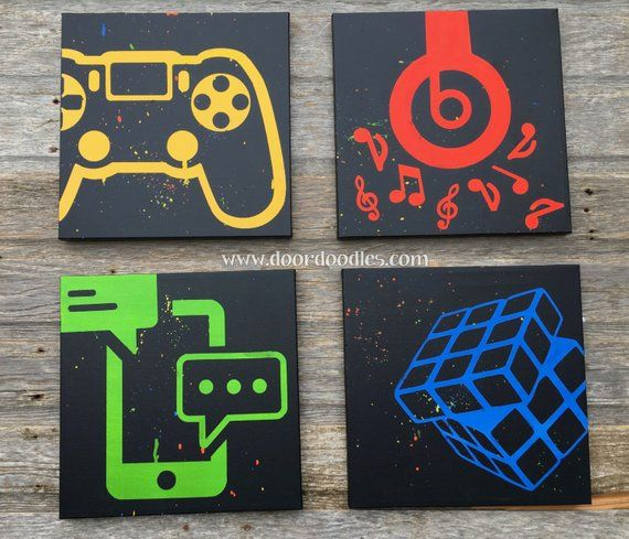 Custom canvas wall art with social media icons, video games, music silhouette – your choice customizable