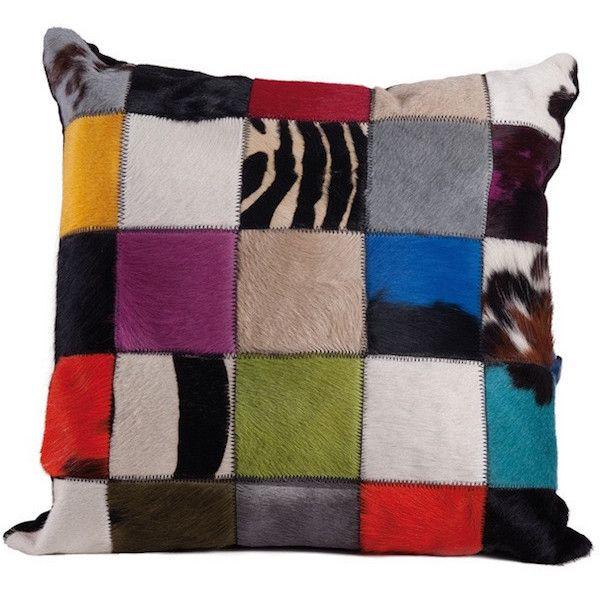 """Fellhof - Kissen Multicolor! Setzen Sie mit dem Kissen """"Multicolor"""" einen Akzent! Patchwork aus edelsten Fellen, bunt, farbig. Größe: 50x50cm"""