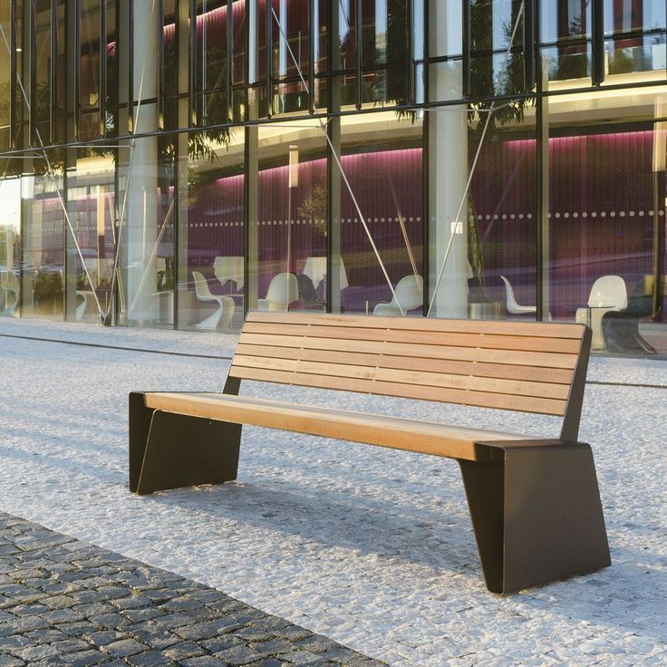 Public bench / contemporary / sheet steel / wooden RADIUM by David Karásek & Radek Hegmon  mmcité 1 a.s.