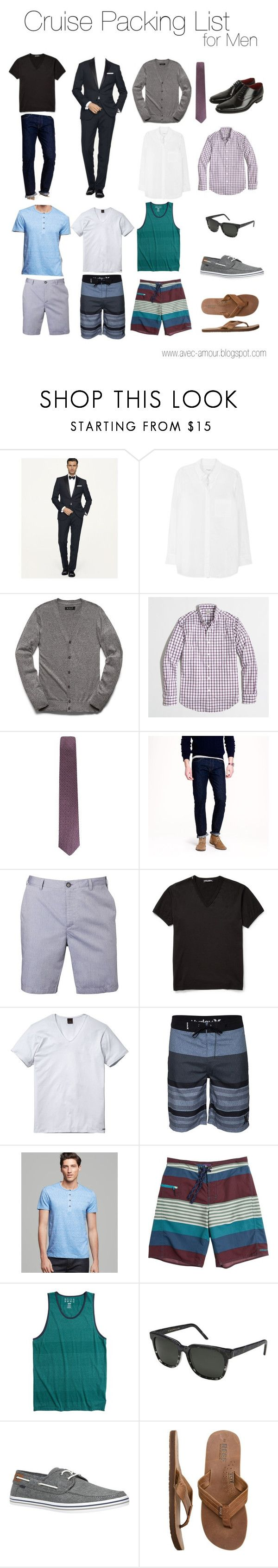 Men's Cruise Packing List by reneecutaia on Polyvore featuring Equipment, RetroSuperFuture, Ralph Lauren, J.Crew, Hurley, 21 Men, BOSS Hugo Boss, Scotch & Soda, Patagonia and Billabong