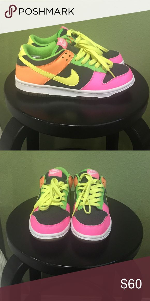 Nike Dunk Low Nike Dunk Lows. Bright neon! In great condition! Only used a few times. Nike Shoes Athletic Shoes