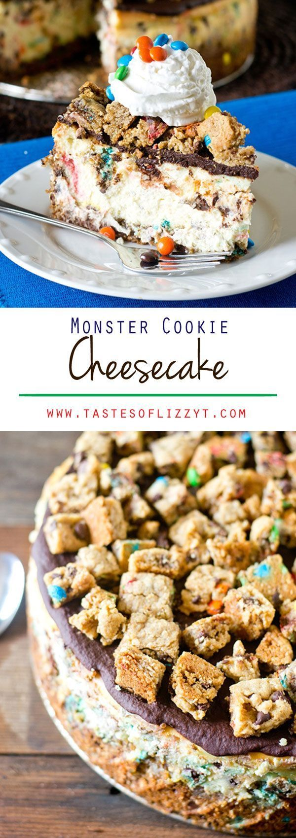 MONSTER COOKIE CHEESECAKE on MyRecipeMagic.com. Your favorite cookie meets creamy cheesecake! This Monster Cookie Cheesecake will be a hit with cookie and cheesecake lovers alike. Cookie crust with M&M's swired throughout and a chocolate ganache topping.