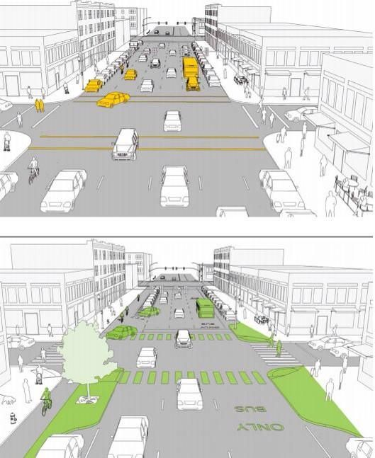 Complete street redesigned with pedestrian island & bike lane via NYC's Dept of Transportation. Click image for link to full guide and visit the slowottawa.ca boards >> https://www.pinterest.com/slowottawa/