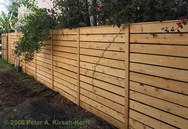 """Photo and fence work belong to Peter A. Kirsch-Korff. Beautiful Wood Fences & Privacy Fencing. Modern Horizontal Cedar Fence (Simple Design). All pressure treated wood framing with cedar fence boards, 60 feet by 6 feet. Per his website: """"I only build in the Los Angeles area."""""""